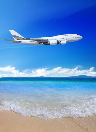 sea beach and blue sky with plane, landscape of Thailand