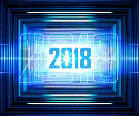 Technology background with transparent figures 2018 for New Year Stock Photo