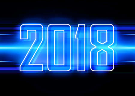 technology background: Technology background with transparent figures 2018 for New Year Stock Photo