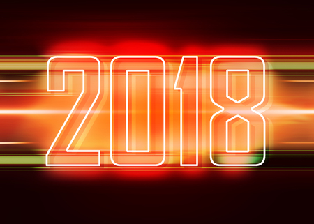 Technology red background with transparent figures 2018 for New Year Stock Photo