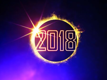 illustration of 2018 like solar eclipse, enlarged view in the Universe Stock Photo