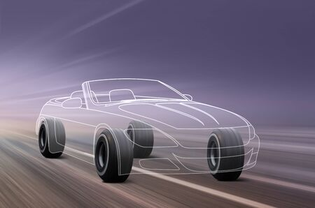 car outline and wheels rushes on road with high speed Stock Photo