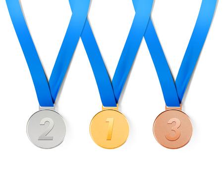Verzameling van sportmedailles op witte achtergrond met pad