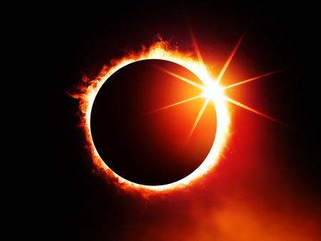 Sonnenfinsternis am dunklen Himmel, vergrößerte Ansicht im Universum Standard-Bild - 90757609