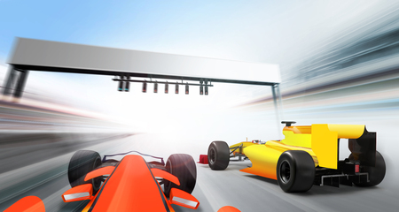 3D illustration of racing cars driving at high speed lap - motion blur Stock Photo