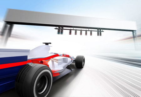 3D illustration of racing car driving at high speed lap - motion blur Stock Photo