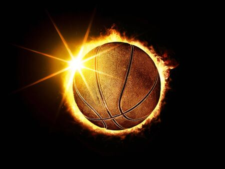 3D illustration of fiery basketball ball like solar eclipse on black background Stock Photo