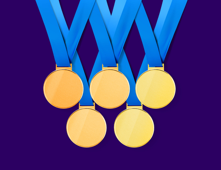 Collection of golden sports medals on white background with path, 3D illustration Stock Photo