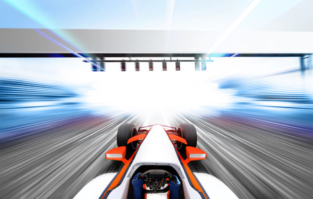 3D illustration of race car driving at high speed lap - motion blur Stock Photo