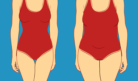 illustration of two women body in underwear with perfect shape and overweight Stock Photo