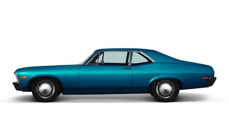 3D illustration of blue retro car isolated on white background Stock Photo