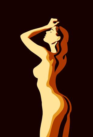 Körper des schönen Mädchens, Illustration mit dunklem Hintergrund
