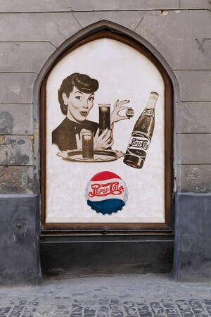 LVIV, UKRAINE - OCTOBER 06: advertizing of Pepsi on street on October 06, 2013 in Lviv.