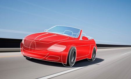 Red outline car and wheels rushes on road with high speed Stock Photo