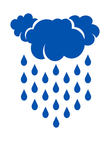Illustration of rain and clouds on white background
