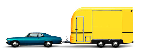 3D illustration of blue retro car and yellow camper van isolated on white background