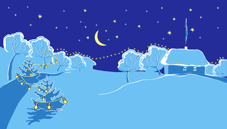 illustration of snow-covered countryside in New Years winter night