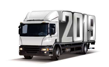 3d illustration of truck delivers 2019 freight in the form like container, isolated