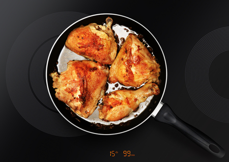 chicken thighs in a frying pan which is on an induction cooker