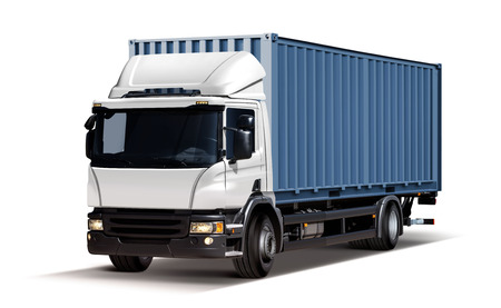 3d illustration of truck delivers freight in the form of container, isolated on white background
