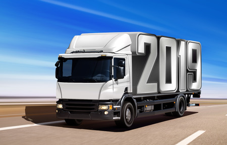 White truck like incoming year 2019 moving on road