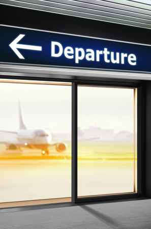 Tourist info signage on which the way of departure is specified in airport