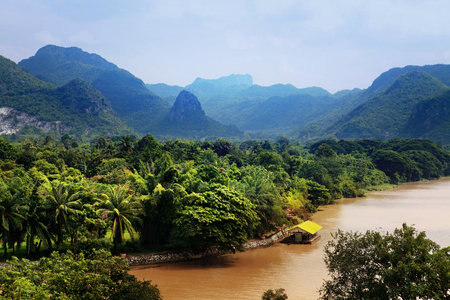Blue sky over Khwae Yai river which is in Thailand