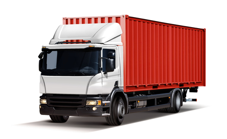 truck delivers freight in the form of container, isolated on white