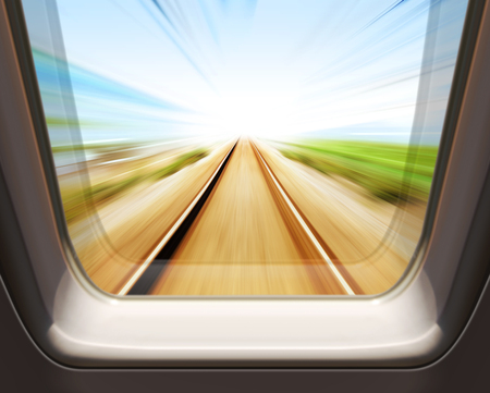 window of high speed train - motion blur Stockfoto