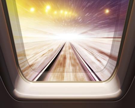 window of high speed train in winter- motion blur