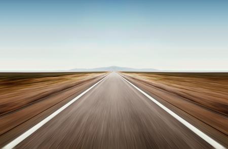 asphalt road through desert droughty area in summer day Stockfoto