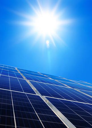 Alternative solar energy, sun-power plant on sky with sun