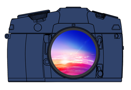The camera illustration with a lens in which is reflected a landscape