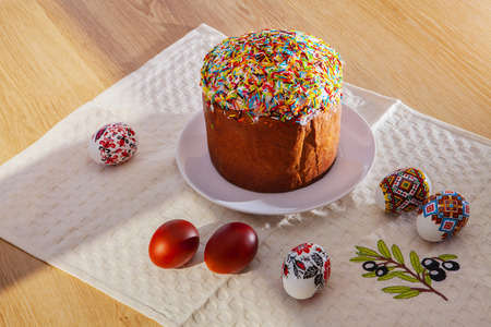 Painted Colorful Easter Eggs and egg bread