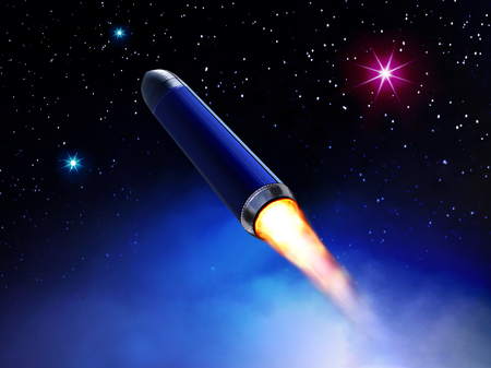 3D illustration of rocket flies in space among stars