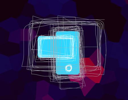 illustration of digital generation image with blue screen Stockfoto