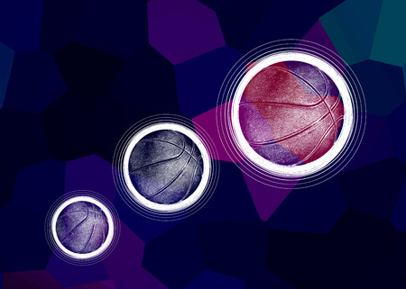 Illustration of three basketballs on a color abstract background