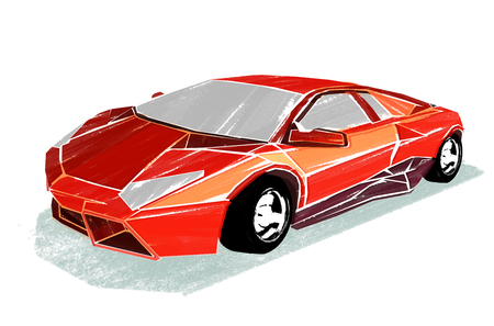Illustration of red sports car that drawn with a dry-brush on a white background