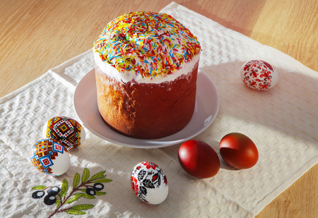 Painted Colorful Easter Eggs and rich bread