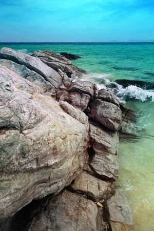 beautiful ocean with rocks at summer day, island of Thailand