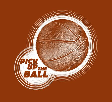 The image of a basketball with the text for drawing on a t-shirt