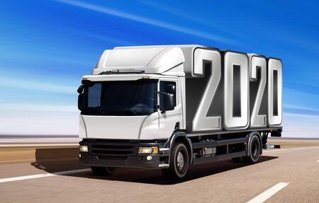 White truck like incoming year 2020 moving on road 版權商用圖片