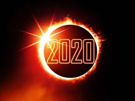 illustration of 2020 like solar eclipse, enlarged view in the Universe