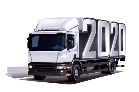3d illustration of truck delivers 2020 freight in the form like container, isolated