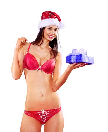Beautiful Santa woman with gift box wearingred lingerie on white background