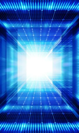 Technology background with transparent geometric shapes like matrix 版權商用圖片