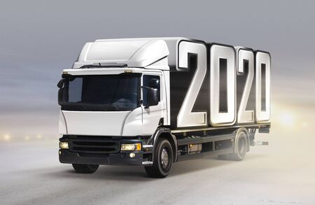 White truck delivers 2020 by new year in winter 版權商用圖片