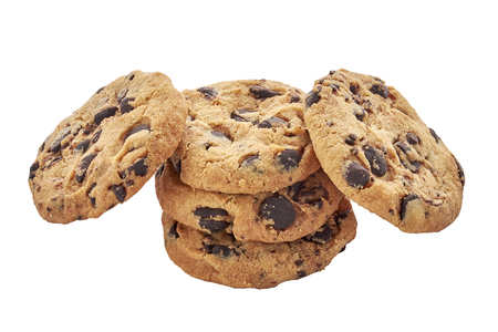 Chocolate chips cookie isolated on white background. Closeup view