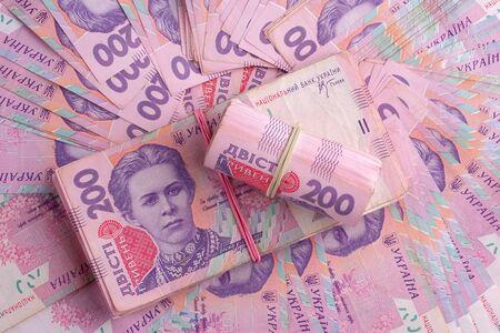 Ukrainian banknotes value of 200 hryvnia UAH. Closeup view