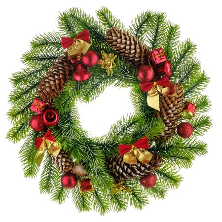 Christmas composition with Wreath made of christmas tree branches, gifts, drums, angels and pine cones with red bubbles and bells on white background. Flat lay, top view